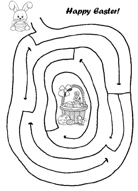 Labyrinthes de Pâques faciles pour la maternelle