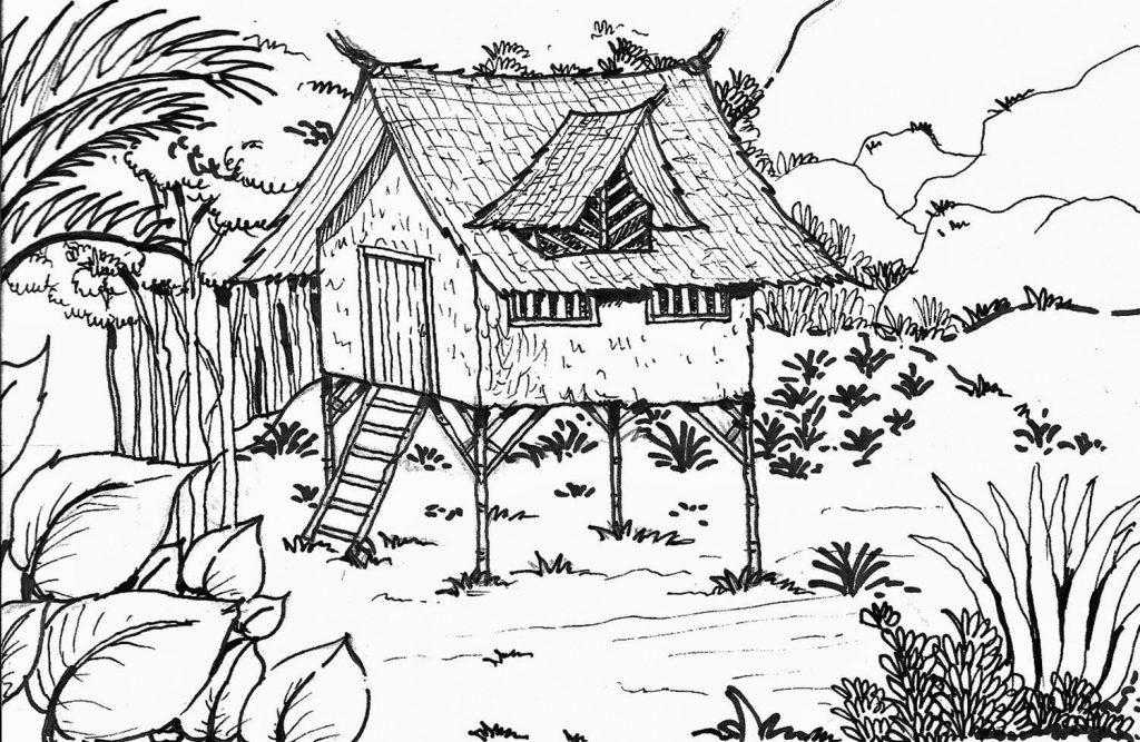 Coloriage cabane dans la forêt