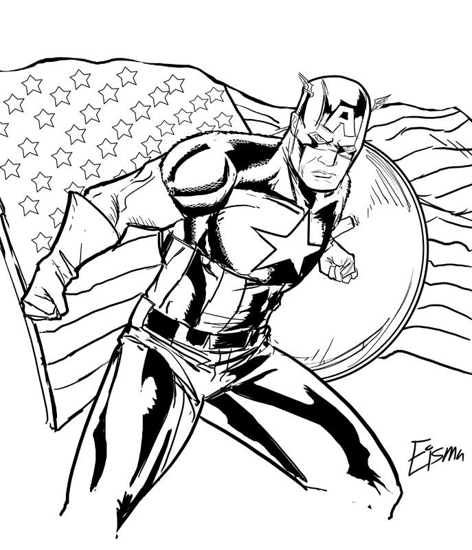 Coloriage Captain America gratuit à imprimer