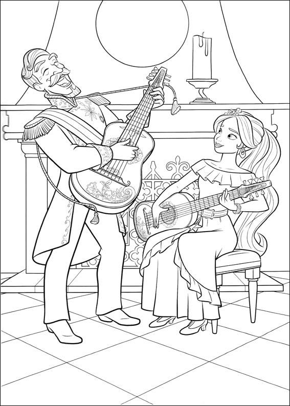 Coloriage Elena d'Avalor - Guitares