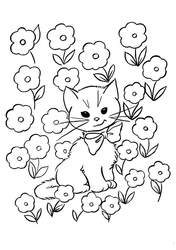 chaton en fleurs coloriage