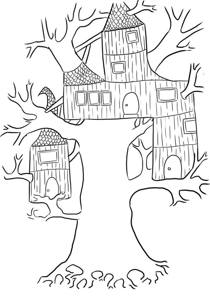 Coloriage de la cabane dans les arbres