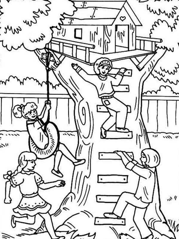 Enfants jouant dans la cabane à colorier