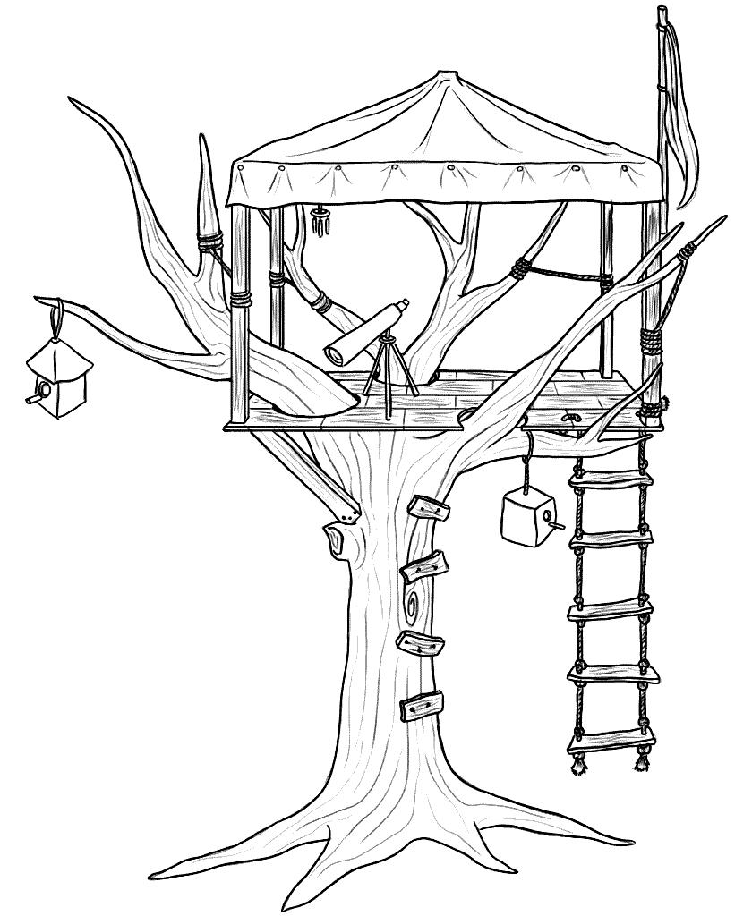 Coloriage de cabane dans les arbres