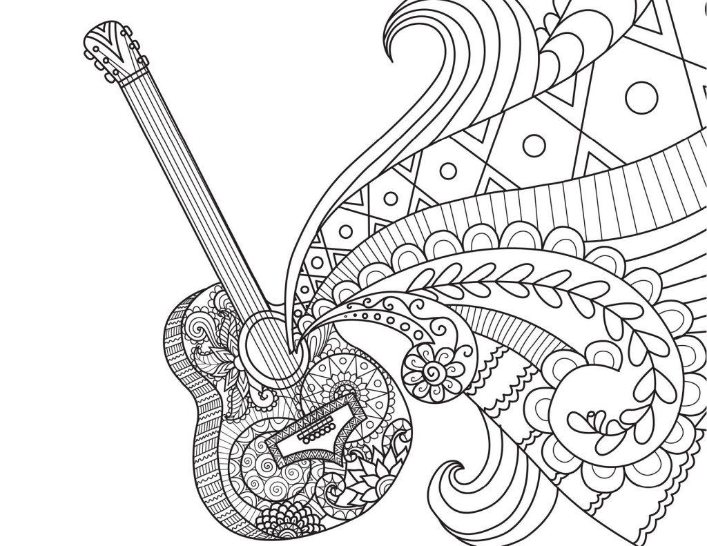 Coloriage guitare coco