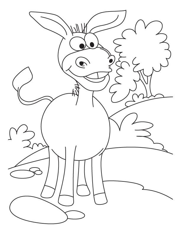Coloriage âne de dessin animé