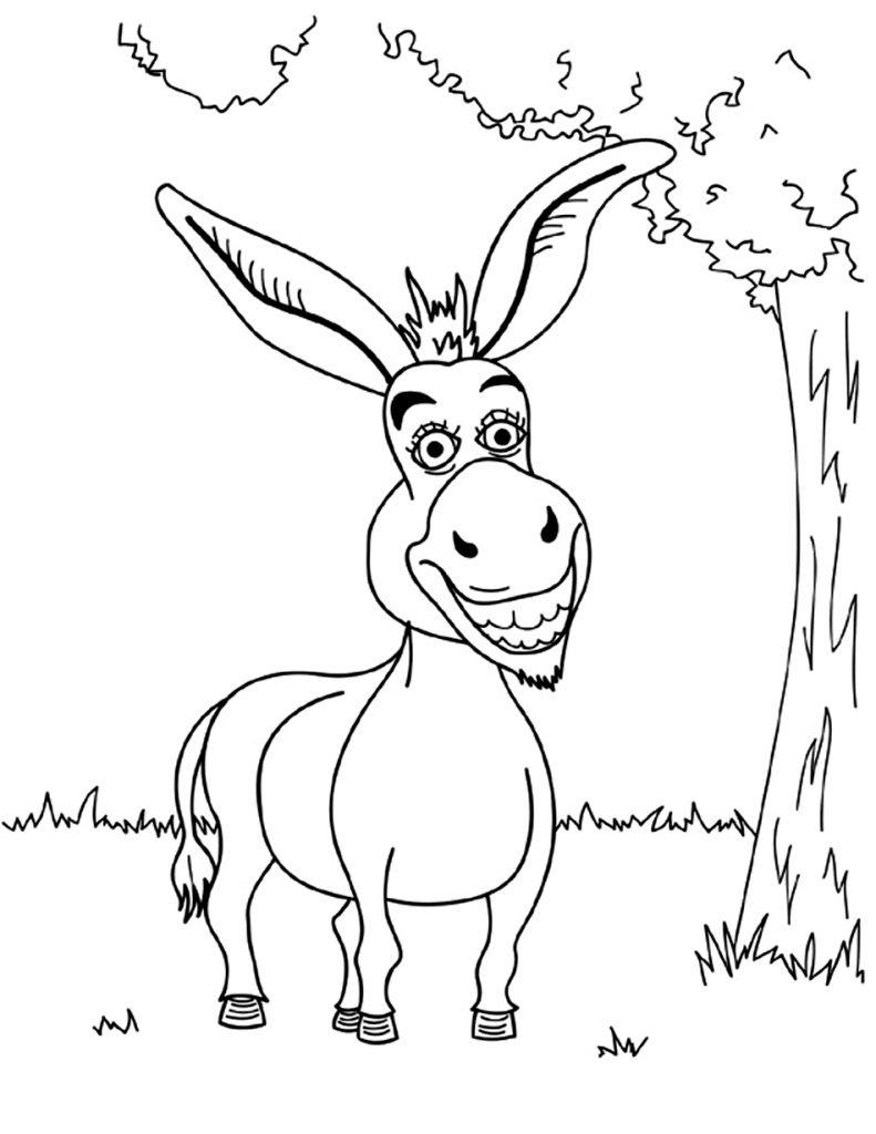 Coloriage âne drôle