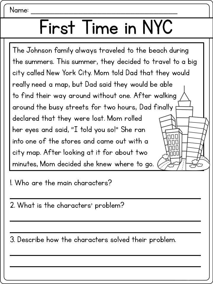 NYC Reading Comprehension Worksheet