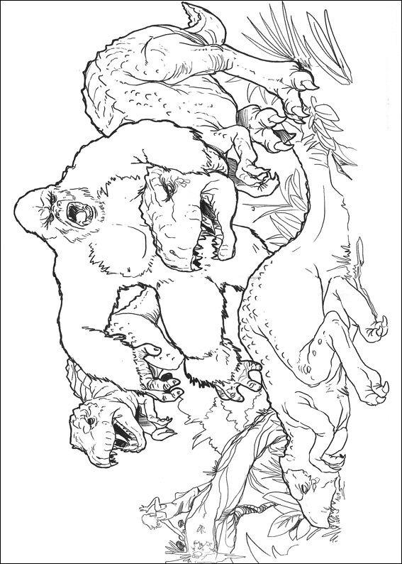 Coloriage roi kong et dinosaures