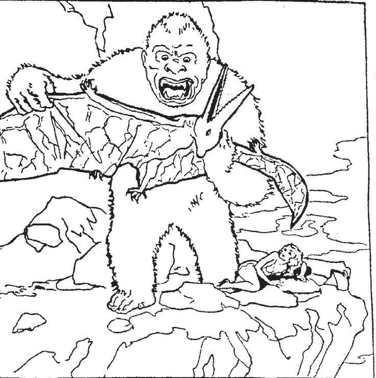 Coloriage de King Kong et Pterradctyle