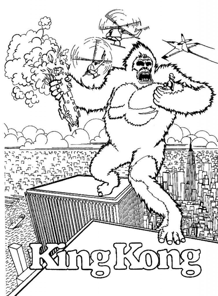 Coloriage de King Kong qui se bat au sommet des bâtiments
