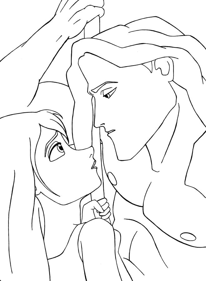 Coloriage Tarzan - Tarzan rencontre Jane