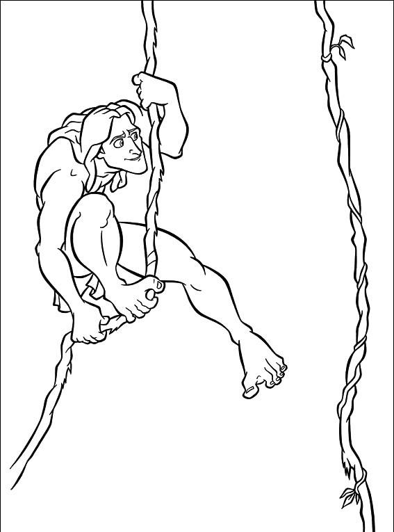 Coloriage Tarzan - Balançoires Tarzan