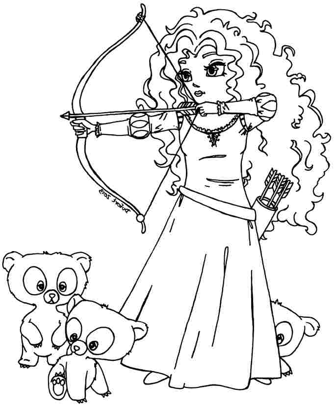 Coloriages Brave Merida and Brothers