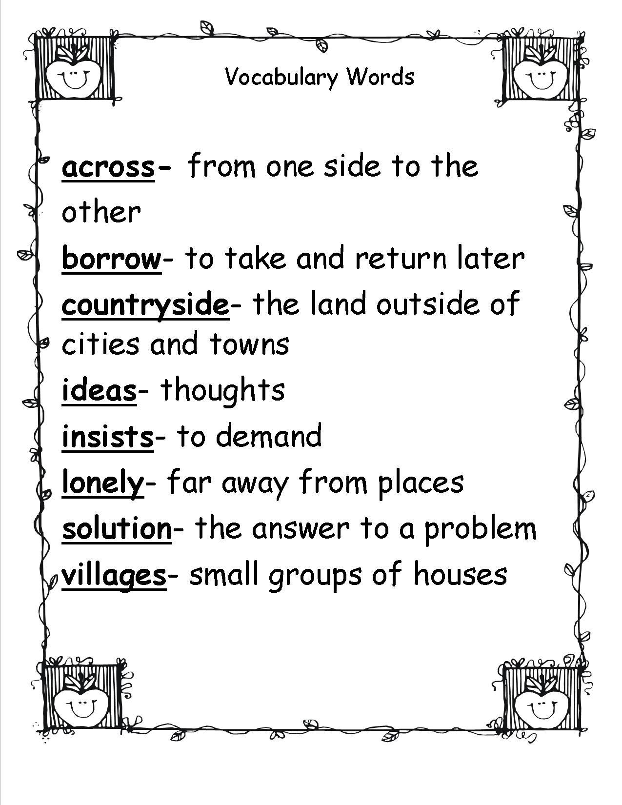 2nd Grade Vocabulary Words