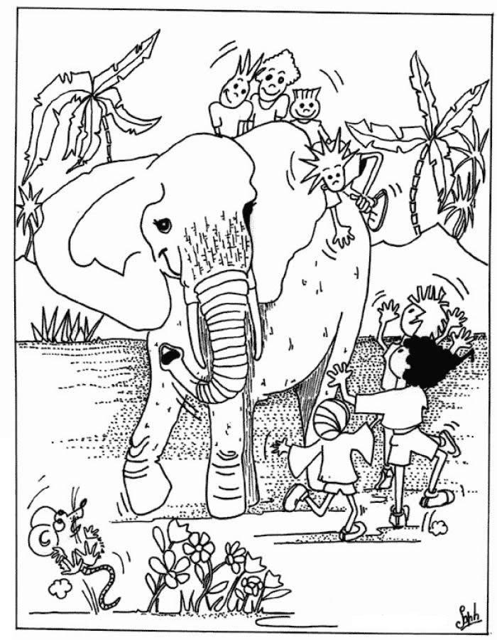 Coloriage animaux sauvages et enfants