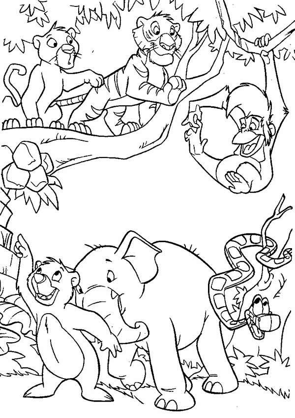 Coloriage livre de la jungle personnages