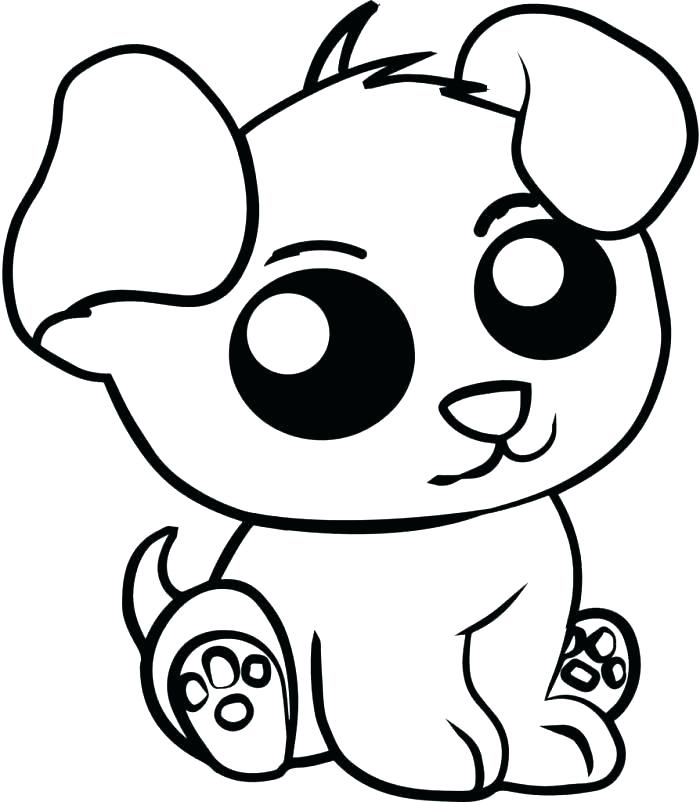 Coloriage animaux mignons - chiot