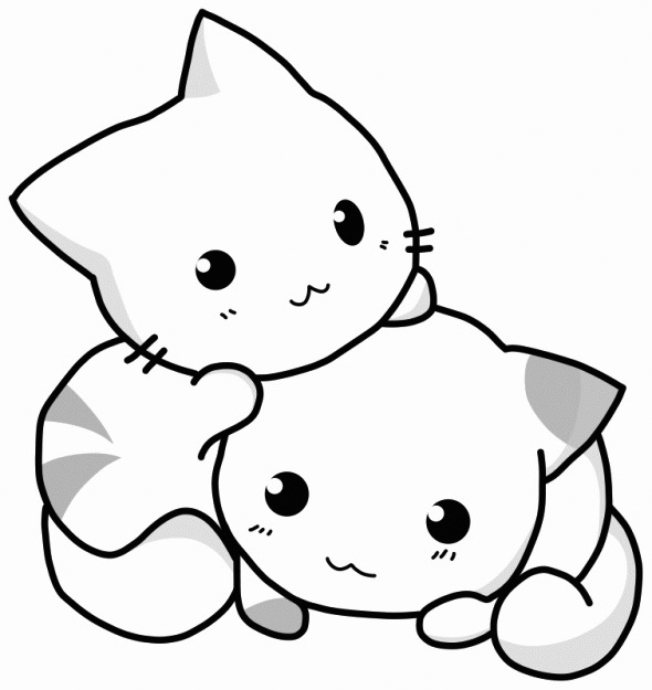 Coloriage chatons mignons