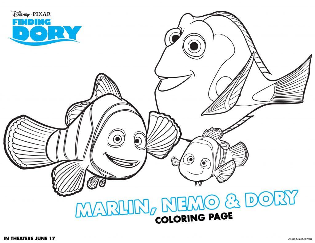 Coloriage de Marlin Neemo et Dory
