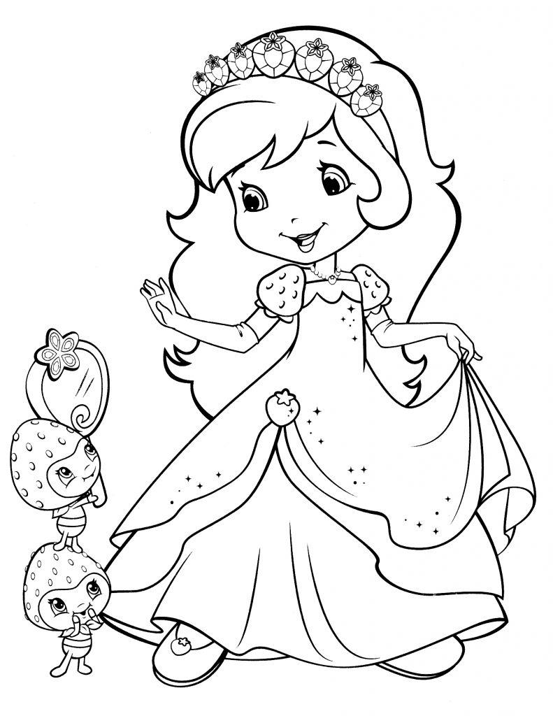 Coloriage robe sablée aux fraises