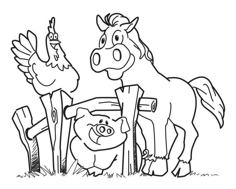 Cheval Cochon Poulet - Coloriage Ferme