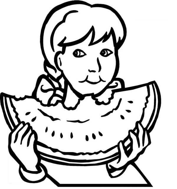Coloriage Manger De La Pastèque