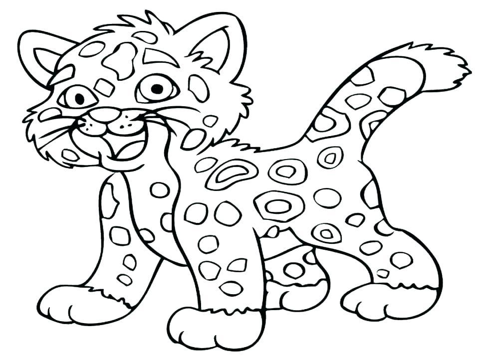 Dessin animé, léopard, animal, coloration, page