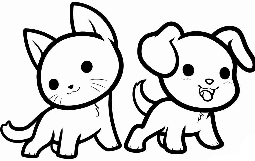 Coloriage animaux chat et chien