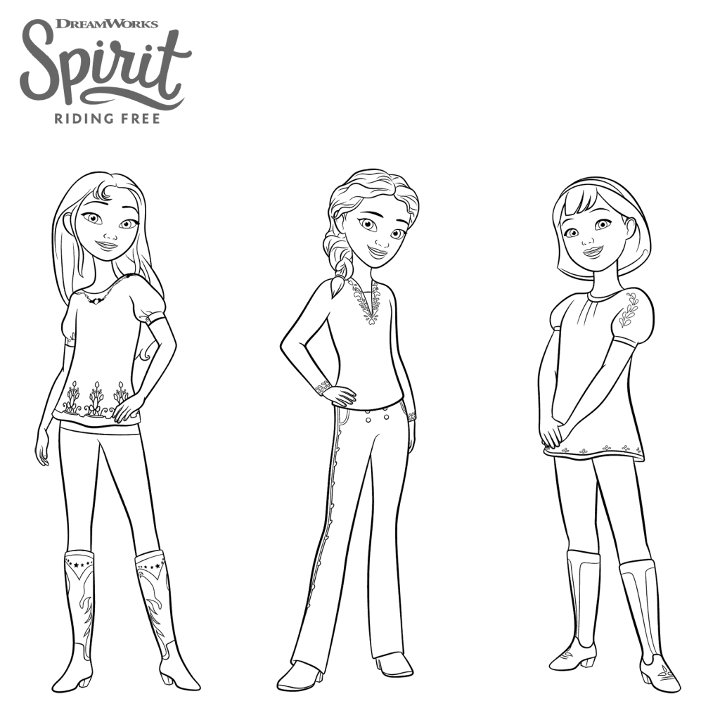 Coloriage de Spirit Riding gratuit pour filles