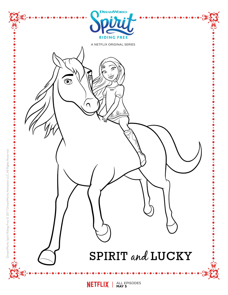Spirit And Lucky Coloring Page