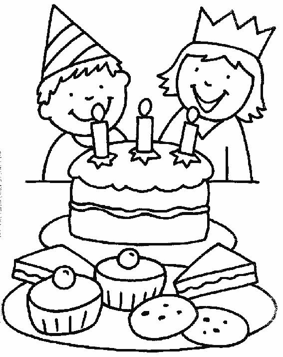 Page de couleur de gâteau d'anniversaire