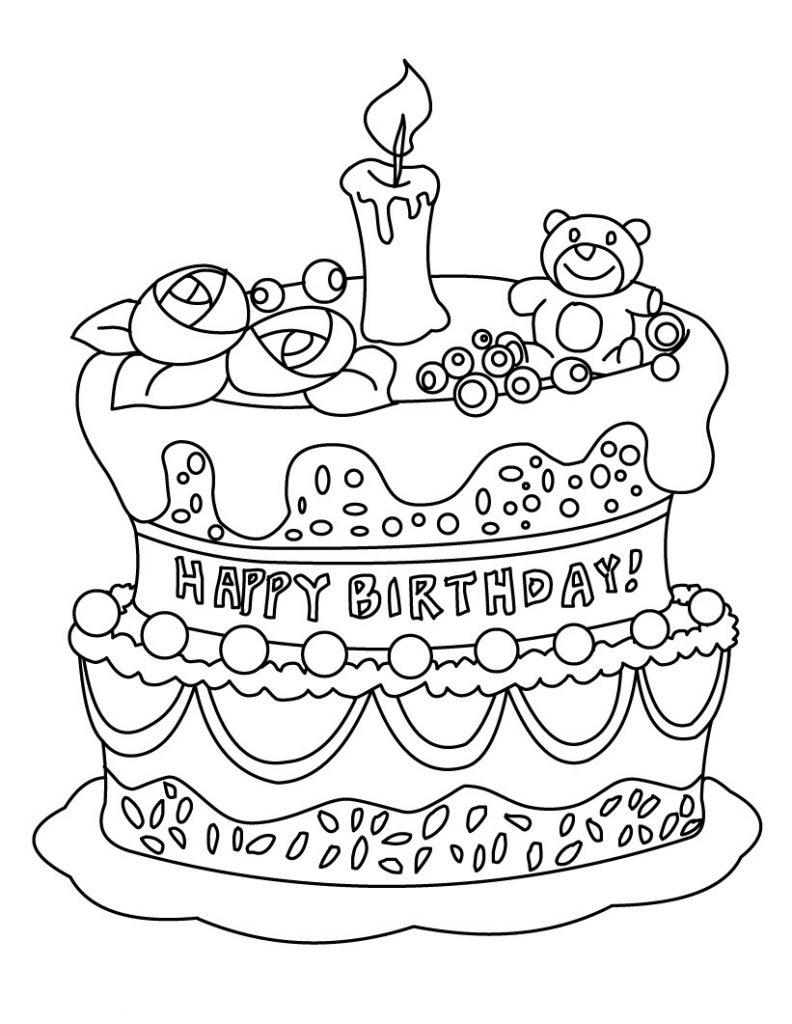 Coloriage gâteau d'anniversaire pour enfants