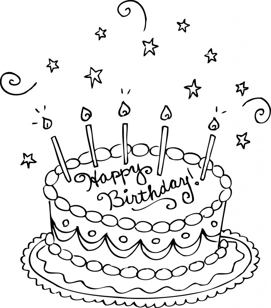 Coloriage gâteau d'anniversaire
