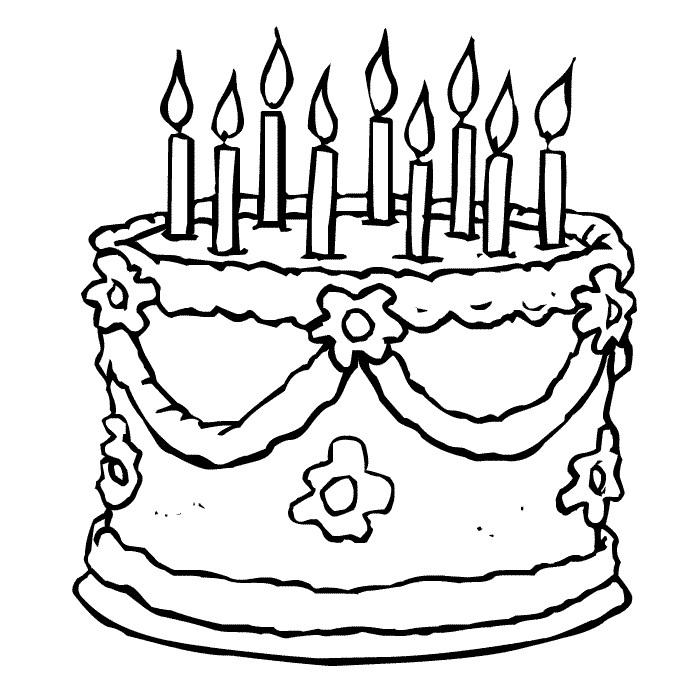 Coloriage de gâteaux d'anniversaire
