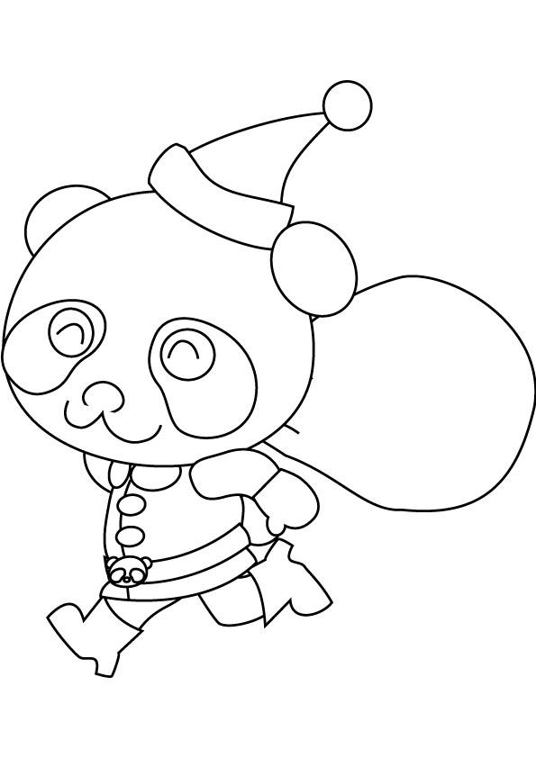 Coloriage panda de Noël