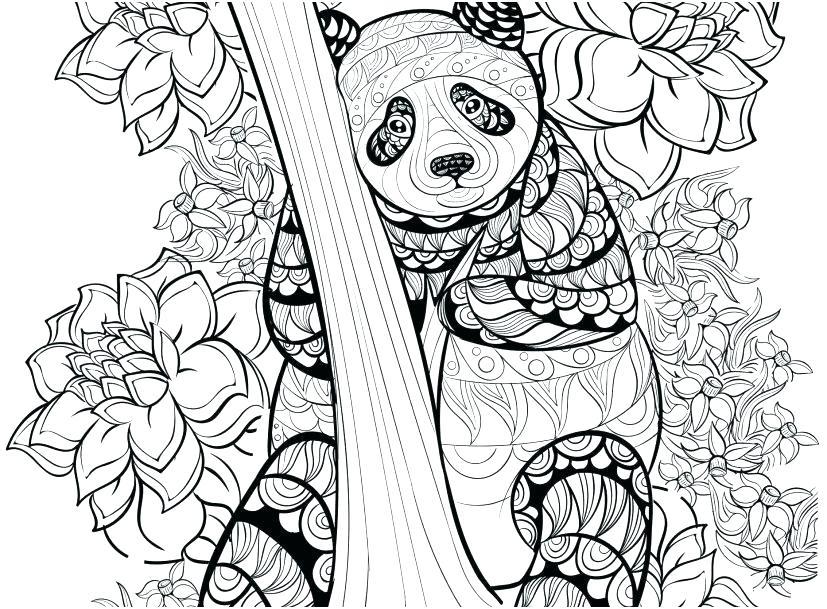 Coloriage Panda détaillé pour adultes