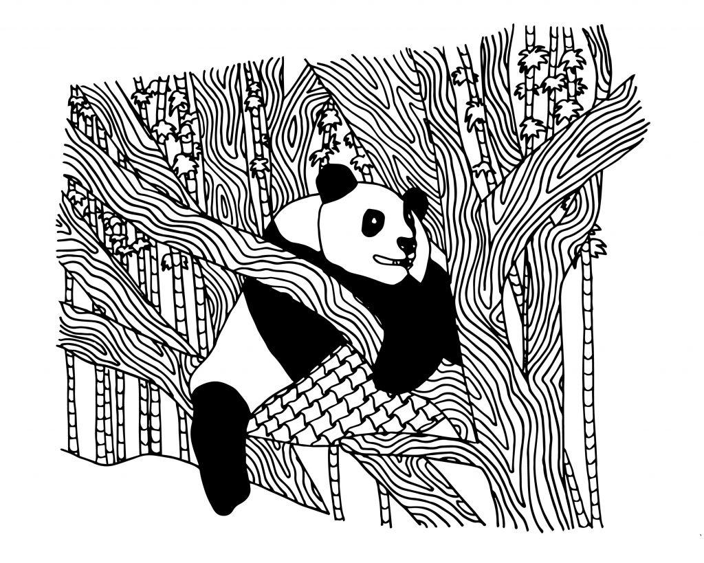 Coloriage panda dans un arbre
