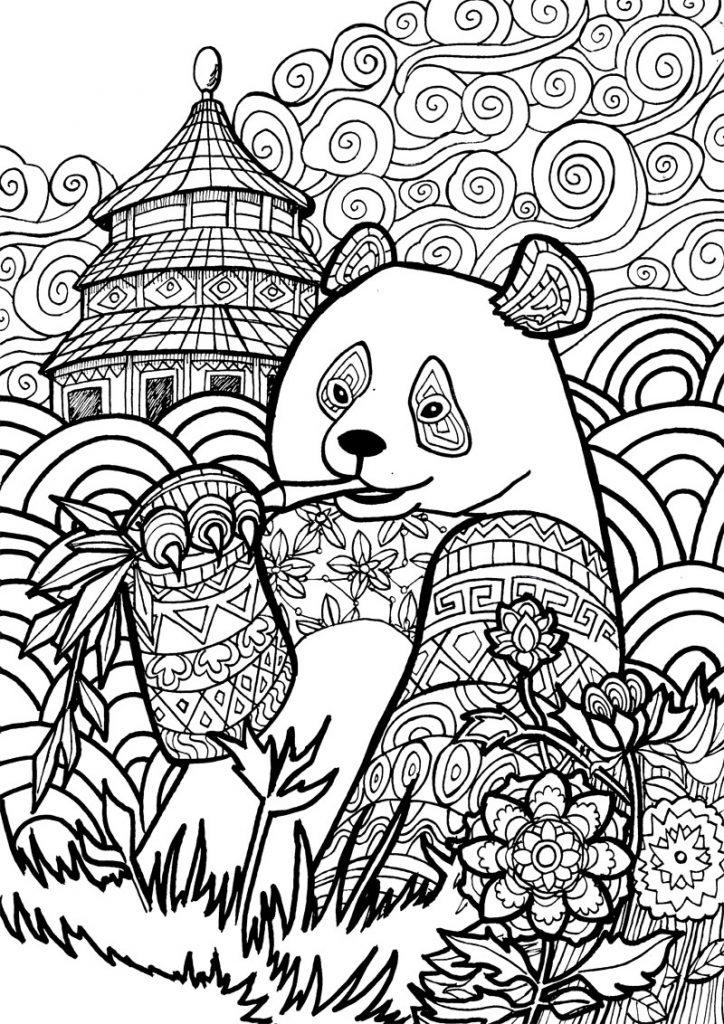 Coloriage panda pour adultes