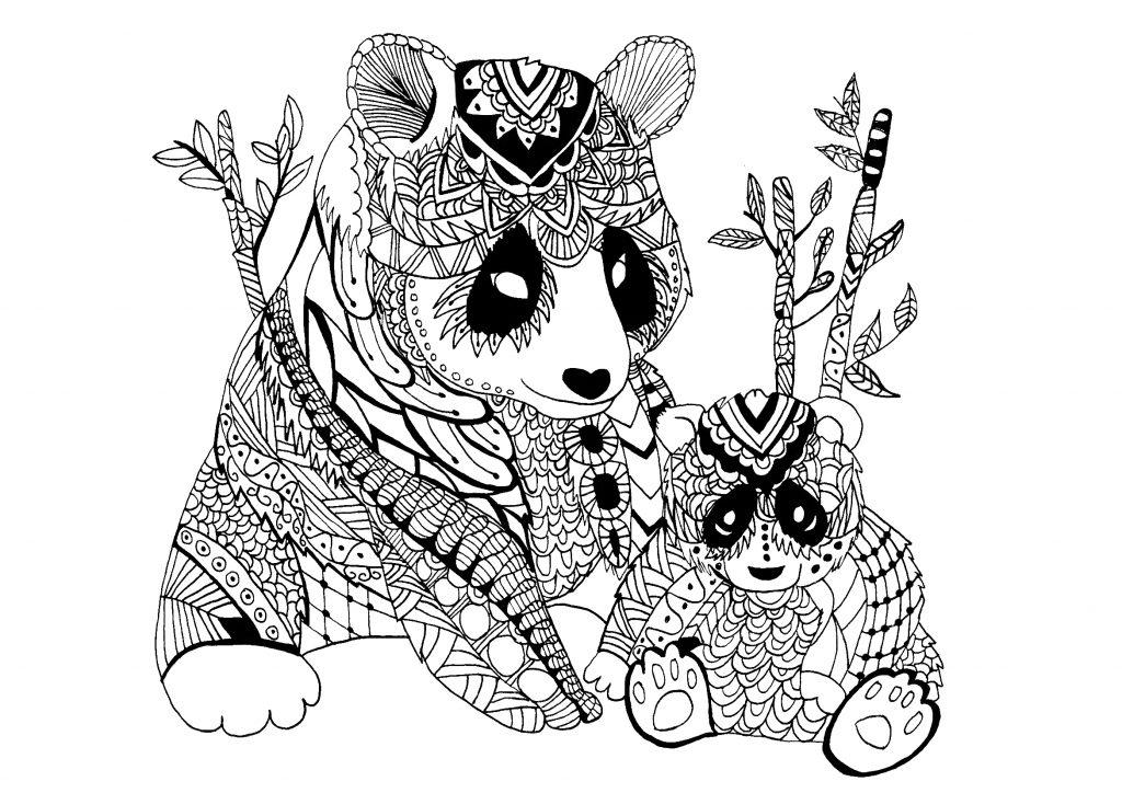 Coloriage Zentangle Panda pour adultes