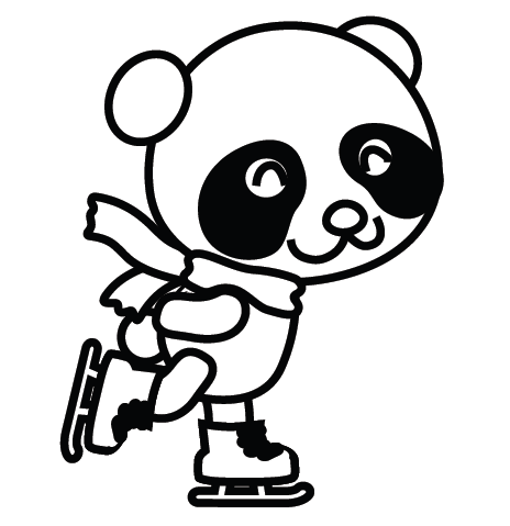 Coloriage panda patinage