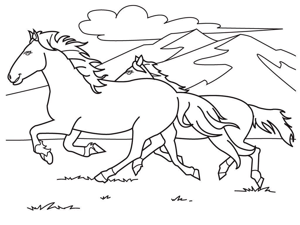 Coloriage poneys en cours d'exécution