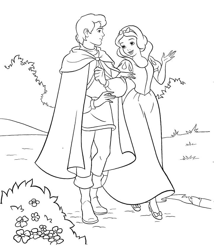 Blanche-Neige et son prince à colorier
