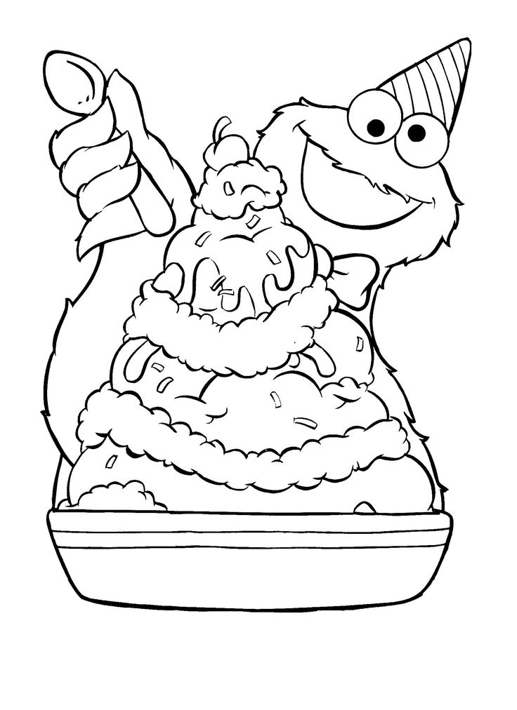 Coloriage de Cookie Monster Ice Cream