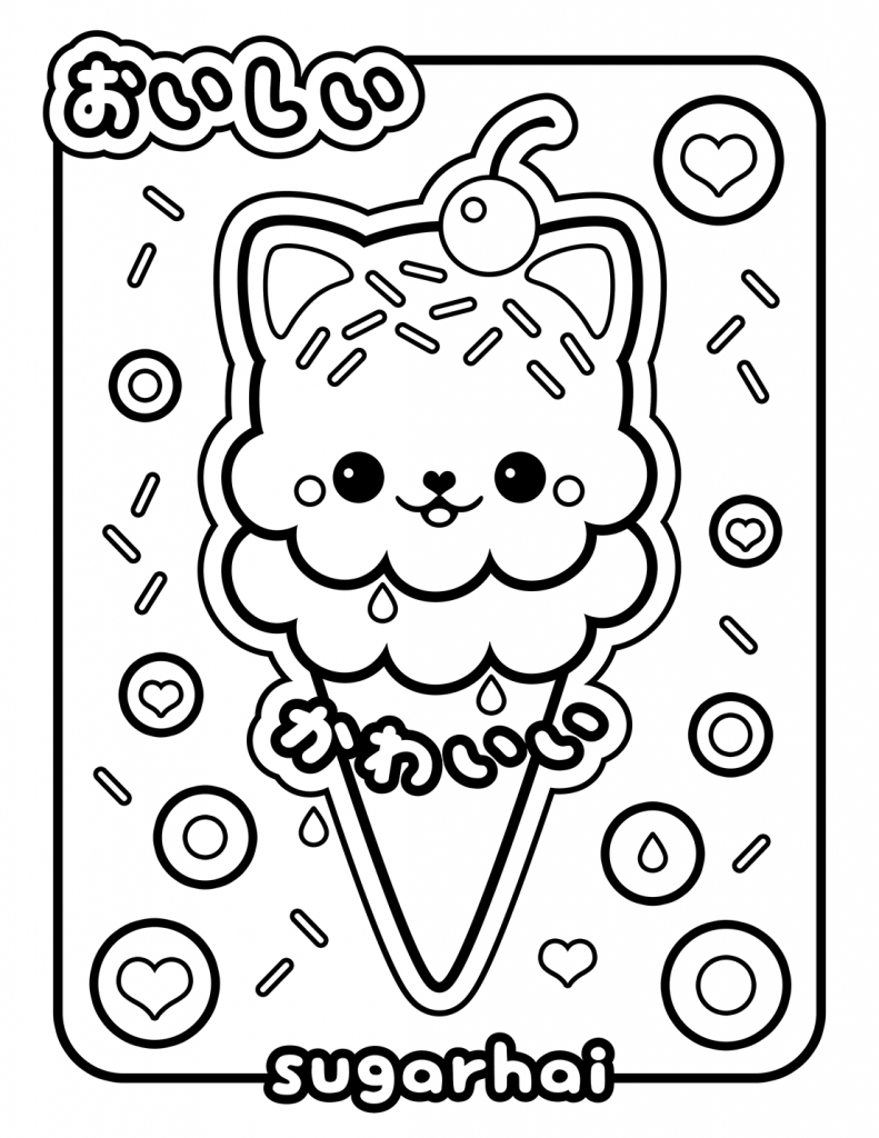 Coloriage Kawaii Ice Cream