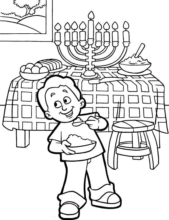 Coloriage de Hanoukka pour les enfants à imprimer et colorier