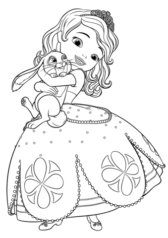 Coloriage Sofia et trèfle