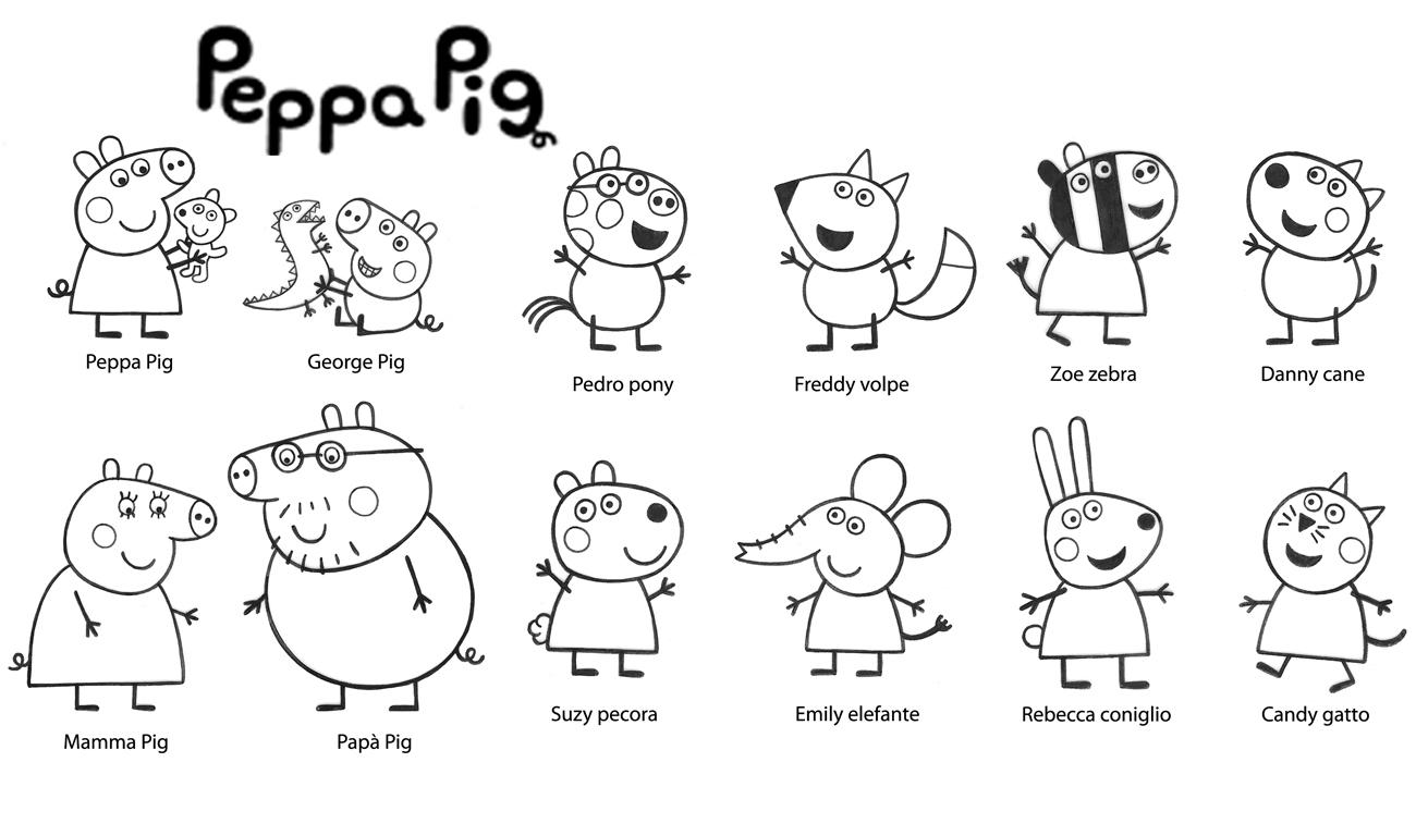 Coloriage de personnages de Peppa Pig
