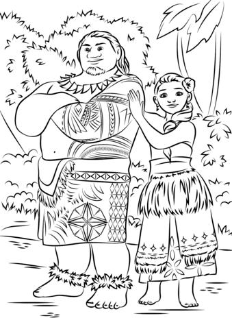 Coloriage Moana - Tui et Sina