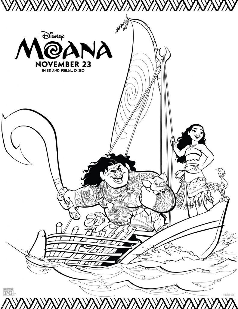 Coloriage Moana gratuit à imprimer - Maui et Moana
